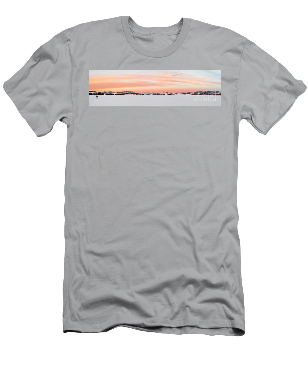 Active Men's T-Shirt (Athletic Fit) featuring the photograph X-country Skier On Lake Laberge by Stephan Pietzko