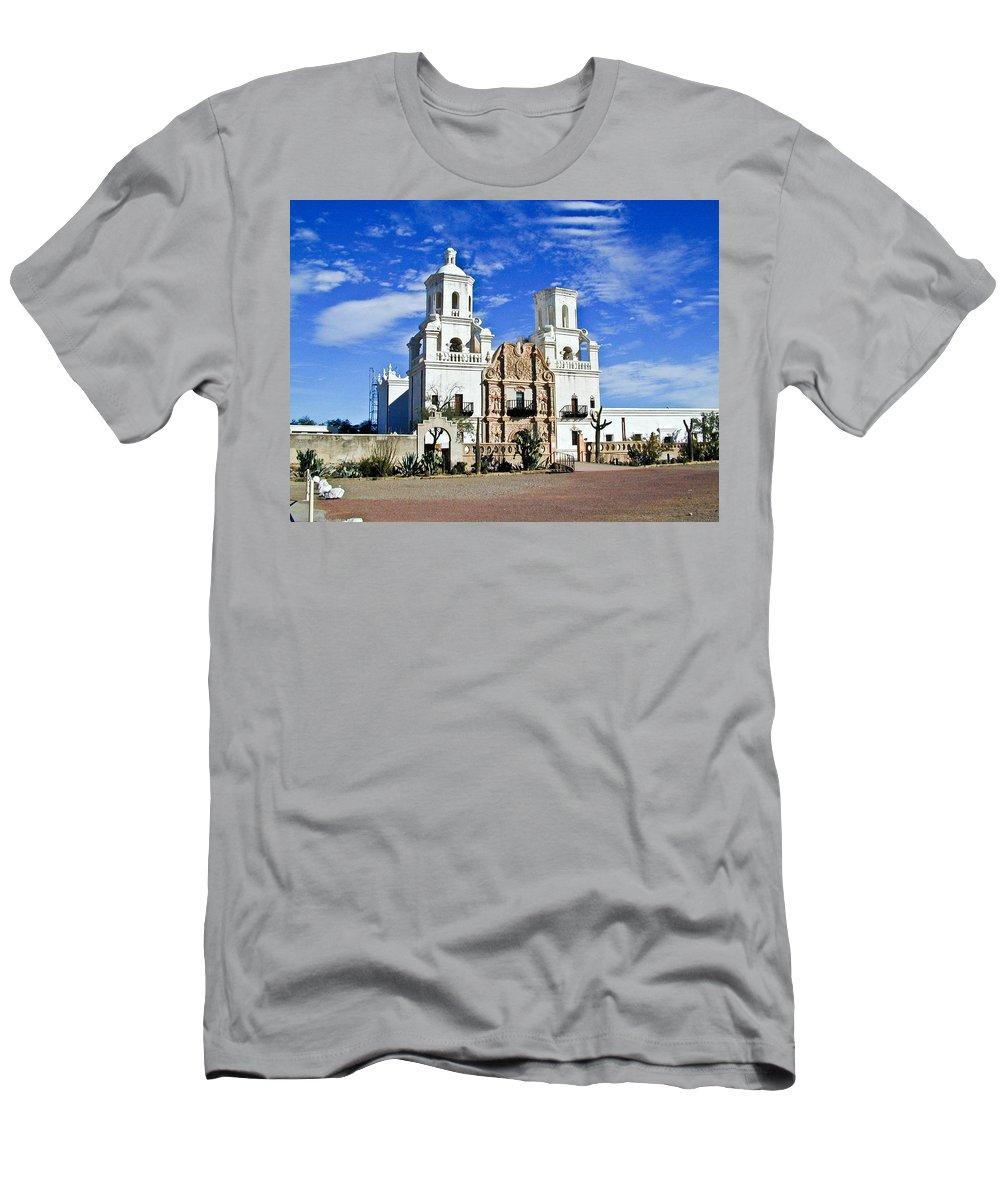 Mission San Xavier Del Bac Men's T-Shirt (Athletic Fit) featuring the photograph Xavier Tucson Arizona by Douglas Barnett