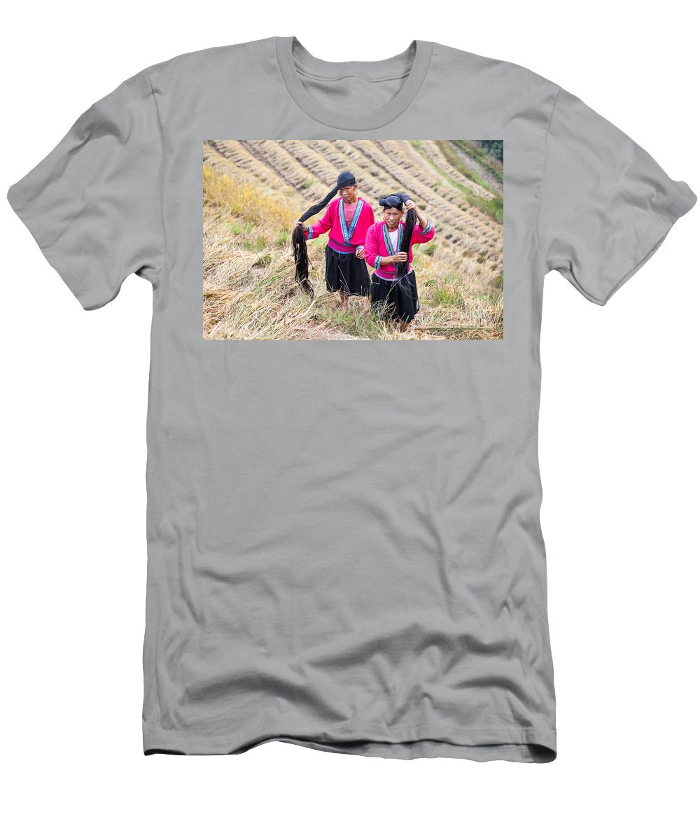 40-50 Men's T-Shirt (Athletic Fit) featuring the photograph Yao Ethnic Minority Women On Rice Terrace by Matteo Colombo