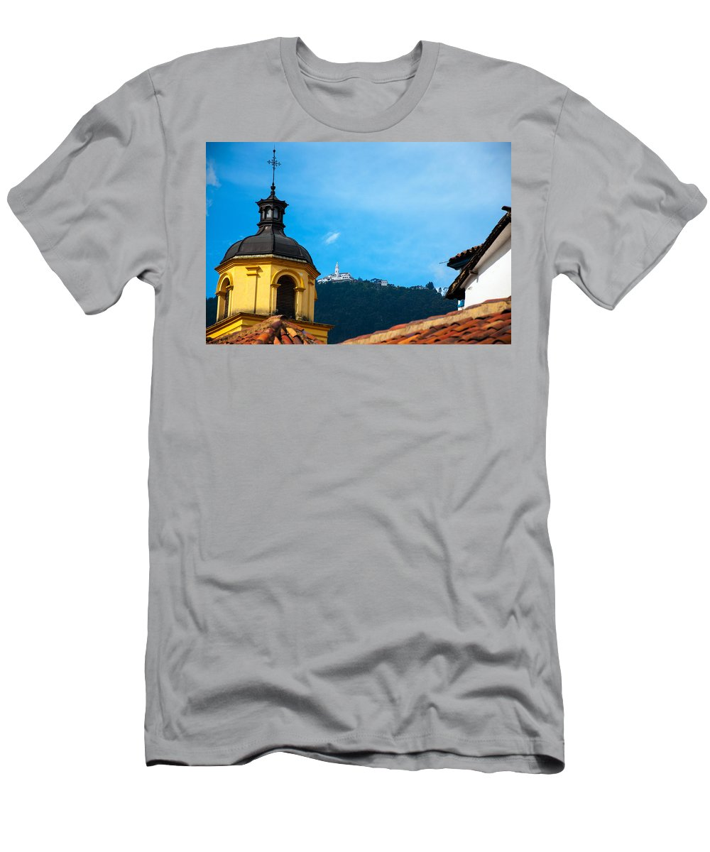 Bogota Men's T-Shirt (Athletic Fit) featuring the photograph Yellow Church And Monserrate by Jess Kraft