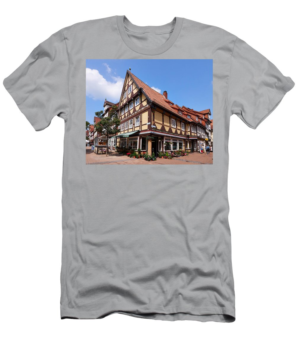 Alankomaat Men's T-Shirt (Athletic Fit) featuring the photograph Yellow Flowershop by Jouko Lehto