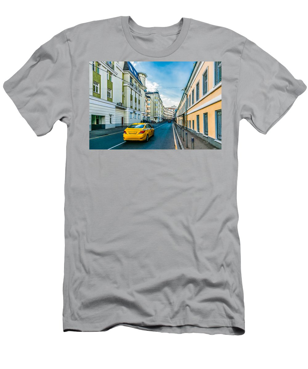 Moscow Men's T-Shirt (Athletic Fit) featuring the photograph Yellow Taxi Of Moscow by Alexander Senin