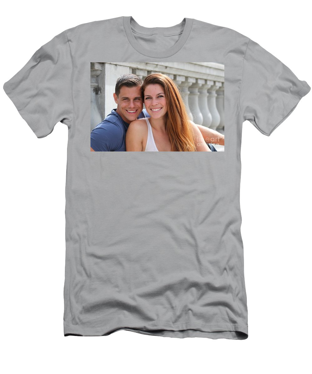 Couple Men's T-Shirt (Athletic Fit) featuring the photograph Young Couple Bridge by Henrik Lehnerer