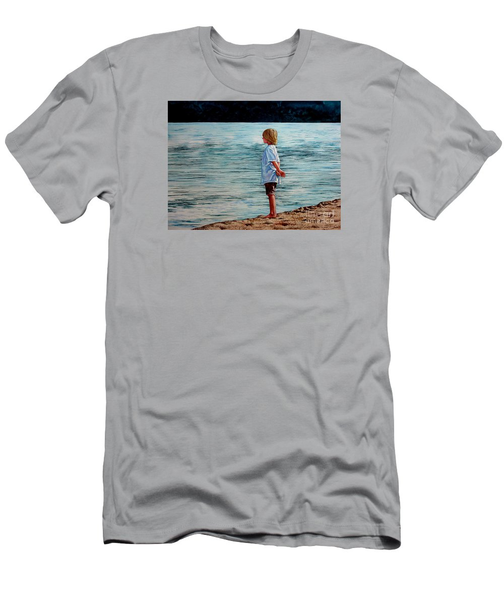 Lad Men's T-Shirt (Athletic Fit) featuring the painting Young Lad By The Shore by Christopher Shellhammer