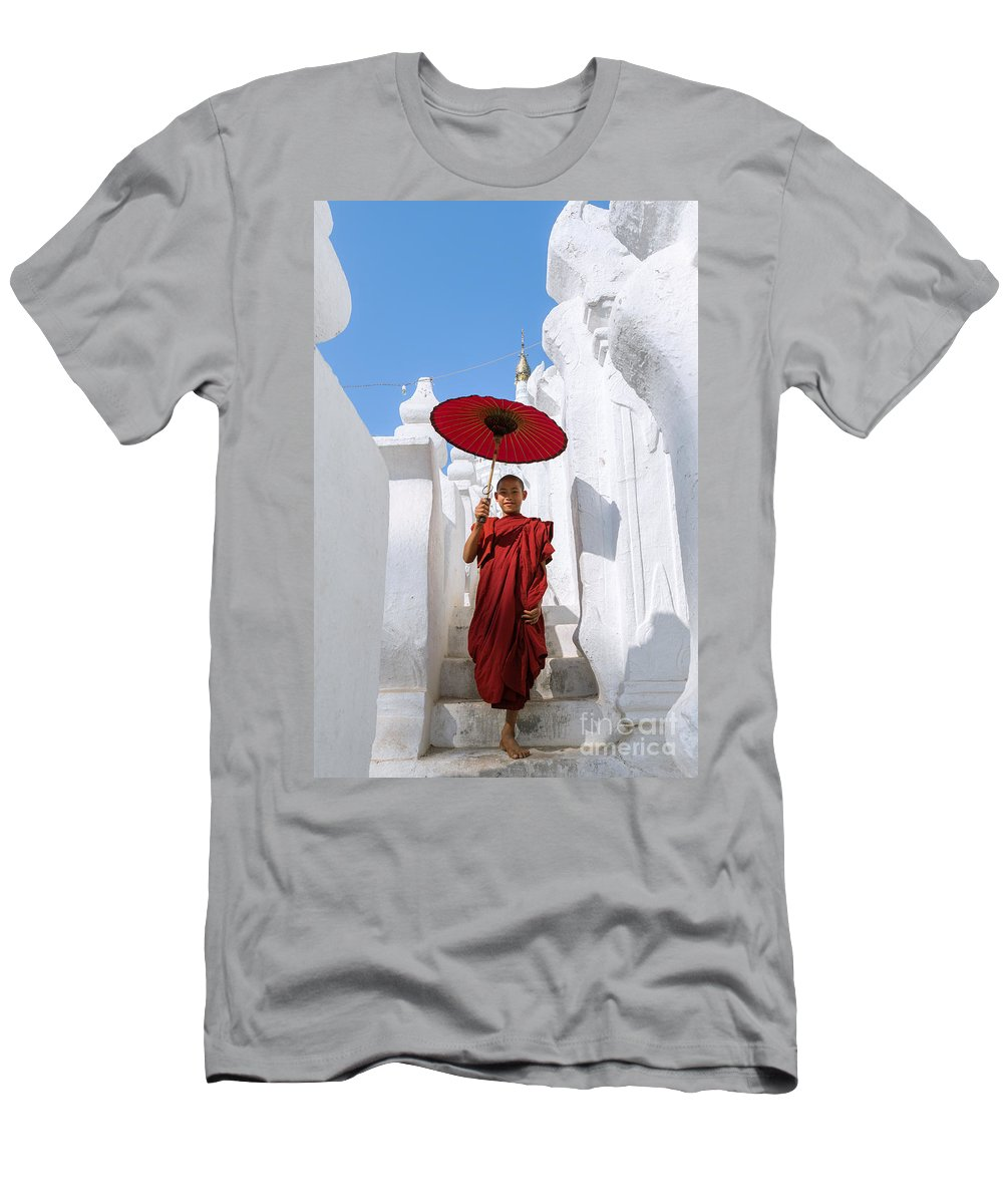 Day Men's T-Shirt (Athletic Fit) featuring the photograph Young Novice Monk Walking On White Pagoda - Myanmar by Matteo Colombo