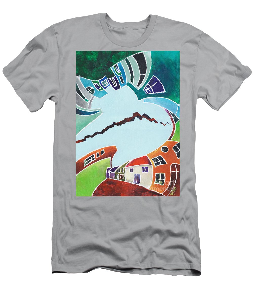 Canvas Prints T-Shirt featuring the painting Your reality or mine. Realities VIS-A-VIS or When a Rupture Matters by Elisabeta Hermann