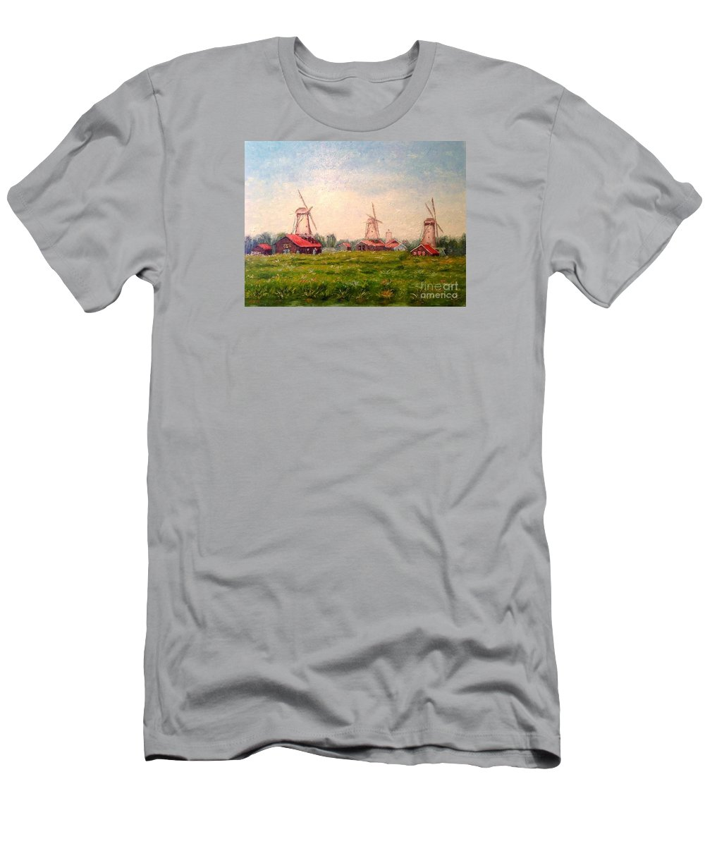 Windmills Men's T-Shirt (Athletic Fit) featuring the painting Zaanse Schans Windmills by Francesca Kee