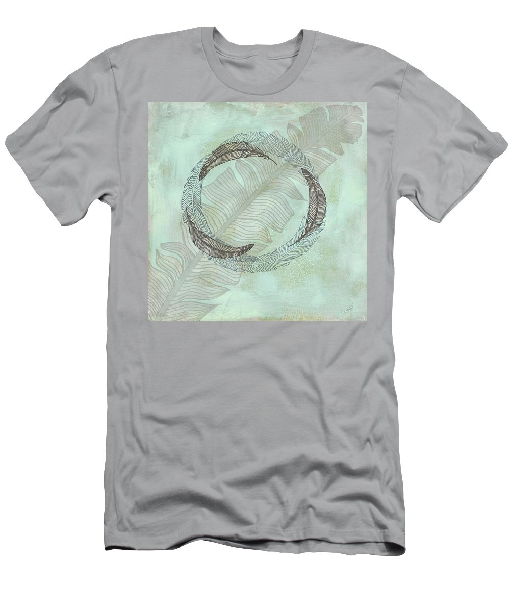 Popular Men's T-Shirt (Athletic Fit) featuring the digital art Zen Feather Circle I I by Paulette B Wright