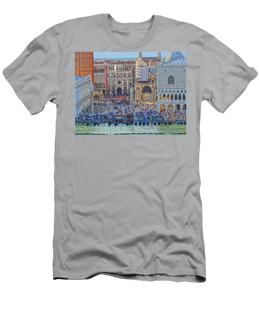 San Marco Men's T-Shirt (Athletic Fit) featuring the photograph Zoom On St Marks Square Venice Italy by M Bleichner