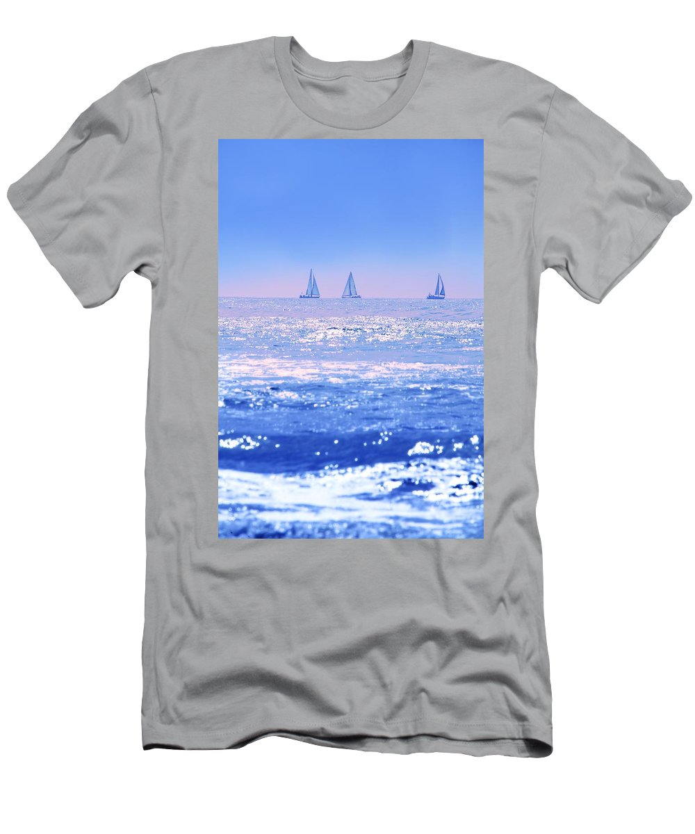 Blue Sky Men's T-Shirt (Athletic Fit) featuring the photograph A Good Day For Sailing by Con Tanasiuk