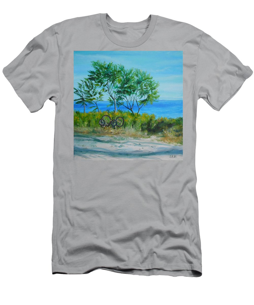 Ocean Men's T-Shirt (Athletic Fit) featuring the painting Bikes Waiting by Susan Hanna