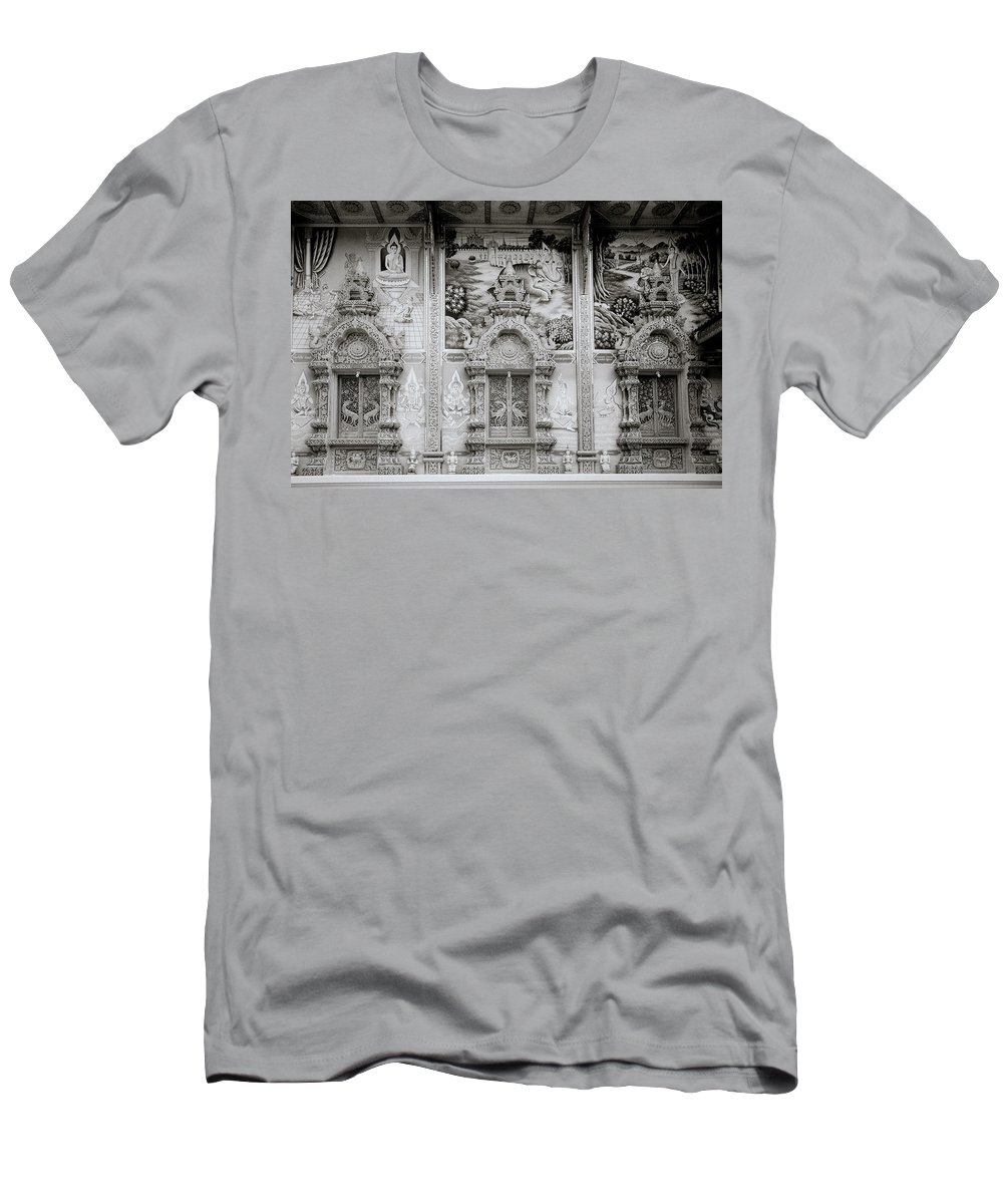Asia Men's T-Shirt (Athletic Fit) featuring the photograph Buddhist Temple Wat Luang In Chiang Khong In Thailand by Shaun Higson