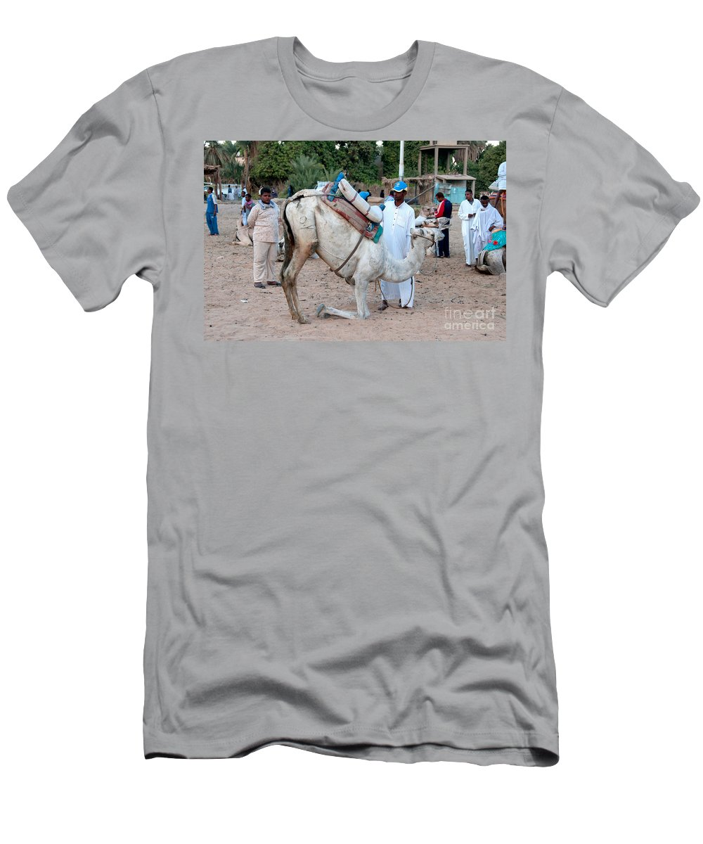 Egypt Aswan Men's T-Shirt (Athletic Fit) featuring the digital art Camel Riders by Carol Ailles