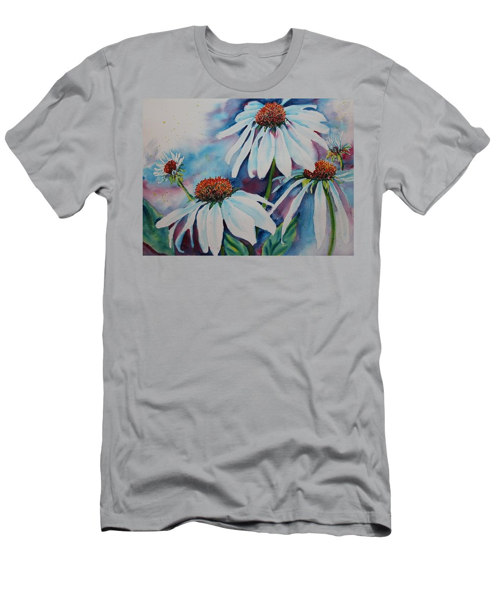 Flowers Men's T-Shirt (Athletic Fit) featuring the painting Coneflower by Ruth Kamenev