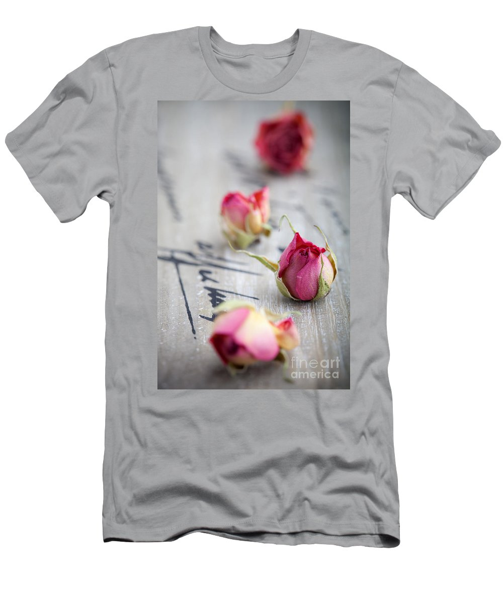 Aroma Men's T-Shirt (Athletic Fit) featuring the photograph Dried Roses by Kati Finell