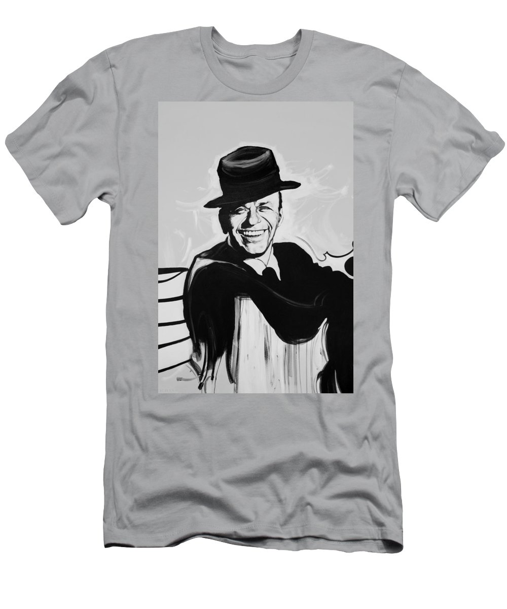 Frank Sinatra Men's T-Shirt (Athletic Fit) featuring the photograph Frank In Black And White by Rob Hans