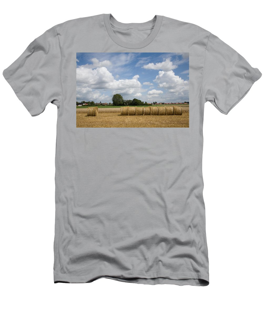France Men's T-Shirt (Athletic Fit) featuring the photograph Harvest Time In France by Ian Middleton