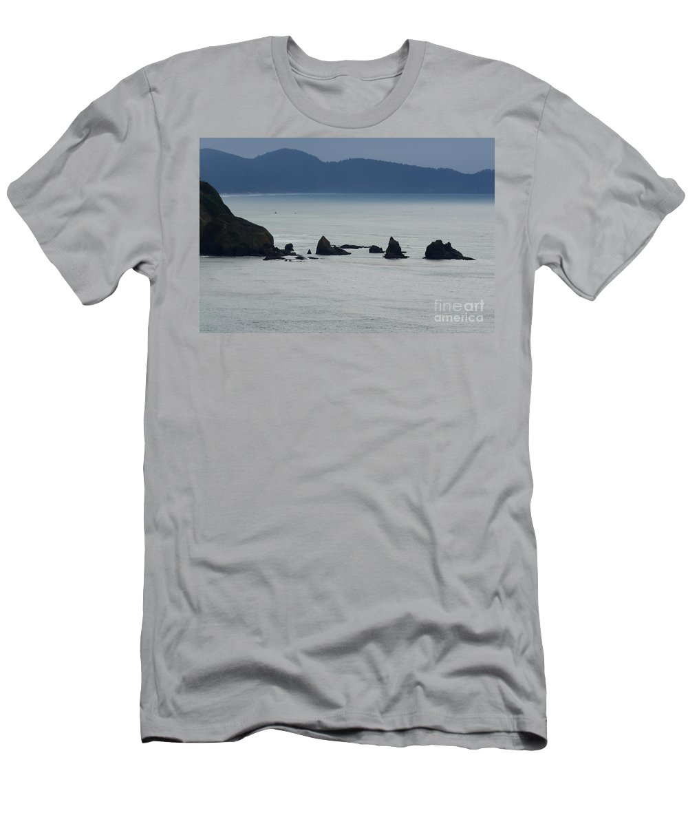Window Rocks Men's T-Shirt (Athletic Fit) featuring the photograph Haystack Rocks by Bob Christopher