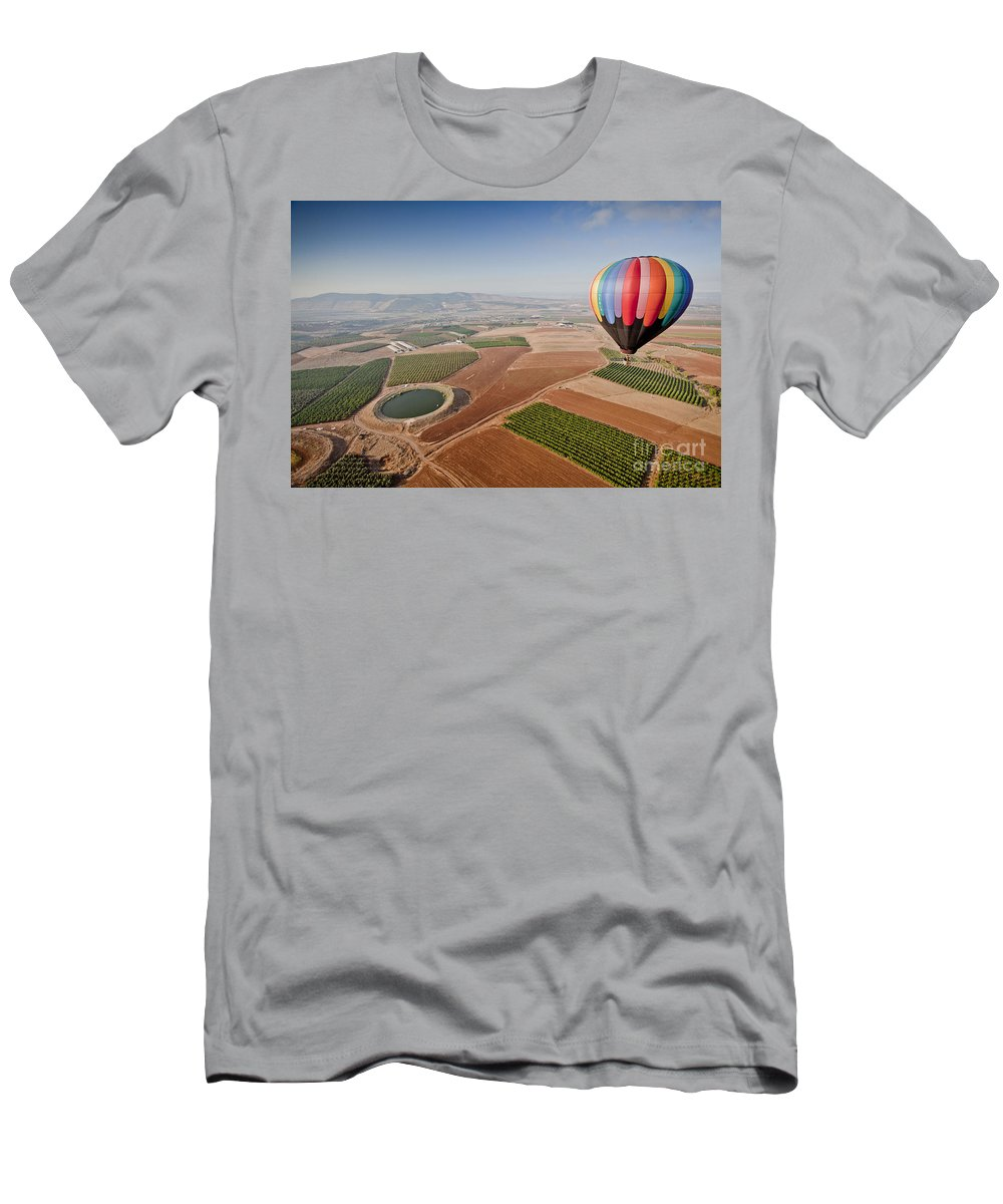 Jezreel Valley Men's T-Shirt (Athletic Fit) featuring the photograph Hot Air Balloon by Sv