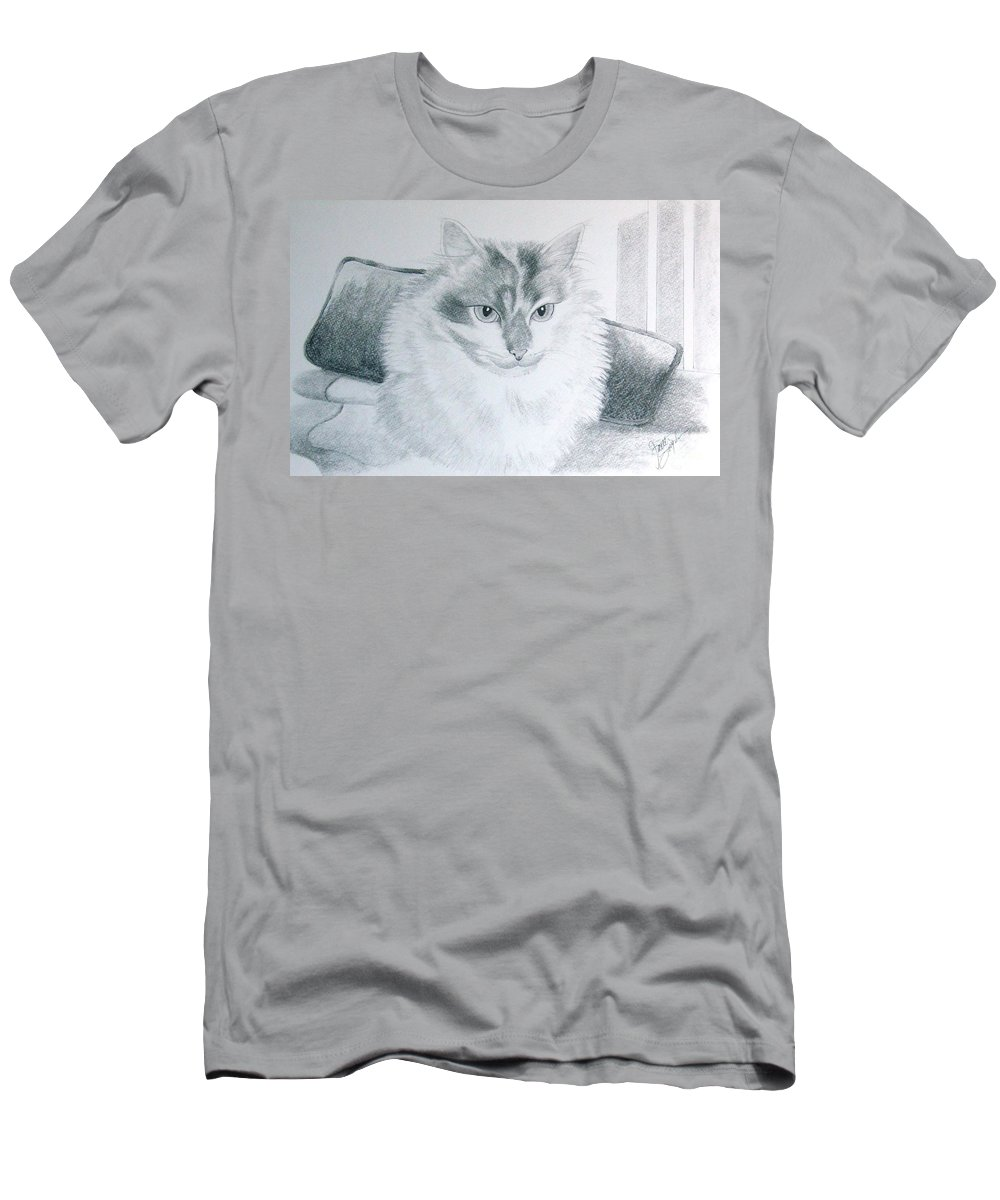 Pet Portrait Art Men's T-Shirt (Athletic Fit) featuring the drawing Idget by Joette Snyder