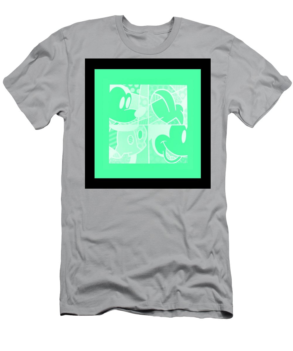 Mickey Mouse Men's T-Shirt (Athletic Fit) featuring the photograph Mickey In Negative Light Green by Rob Hans