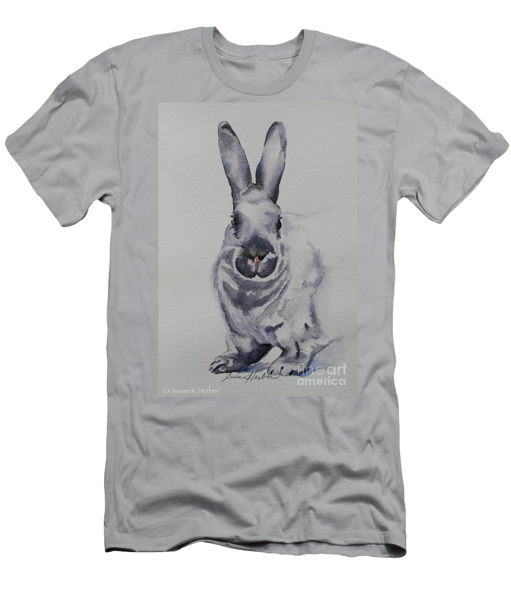 Rabbit Men's T-Shirt (Athletic Fit) featuring the painting Platinum by Susan Herber