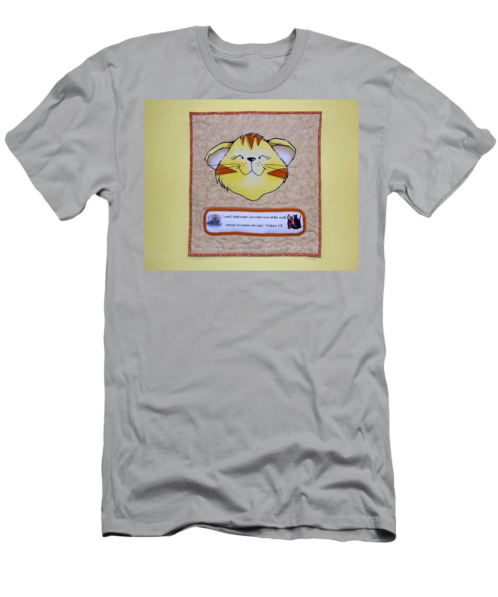 Quilted Wall Hanging Men's T-Shirt (Athletic Fit) featuring the photograph Quilted Cat by Sally Weigand