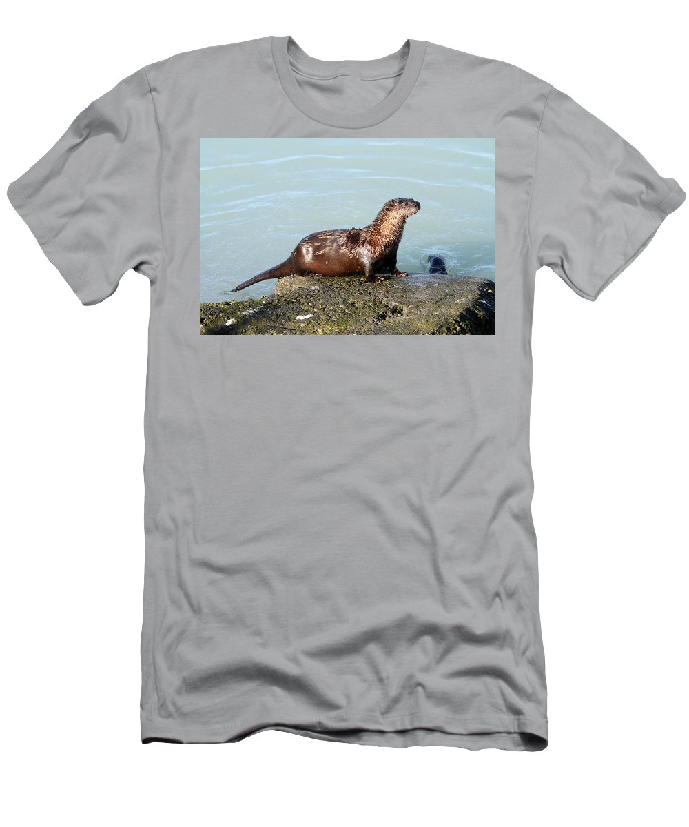 Doug Lloyd Men's T-Shirt (Athletic Fit) featuring the photograph River Otter by Doug Lloyd