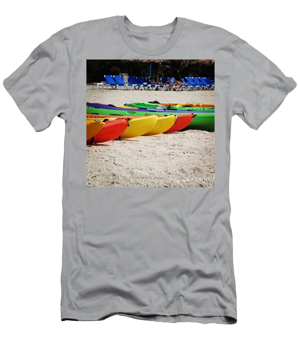 Beach Men's T-Shirt (Athletic Fit) featuring the photograph The Line Up by Jean Macaluso