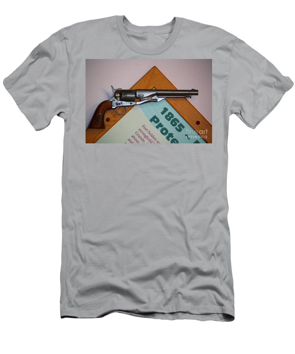 Roena King Men's T-Shirt (Athletic Fit) featuring the photograph 1865 Gun by Roena King