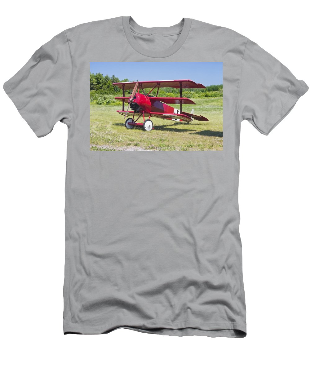 Red Barron Men's T-Shirt (Athletic Fit) featuring the photograph 1917 Fokker Dr.1 Triplane Red Barron Canvas Photo Print Poster by Keith Webber Jr