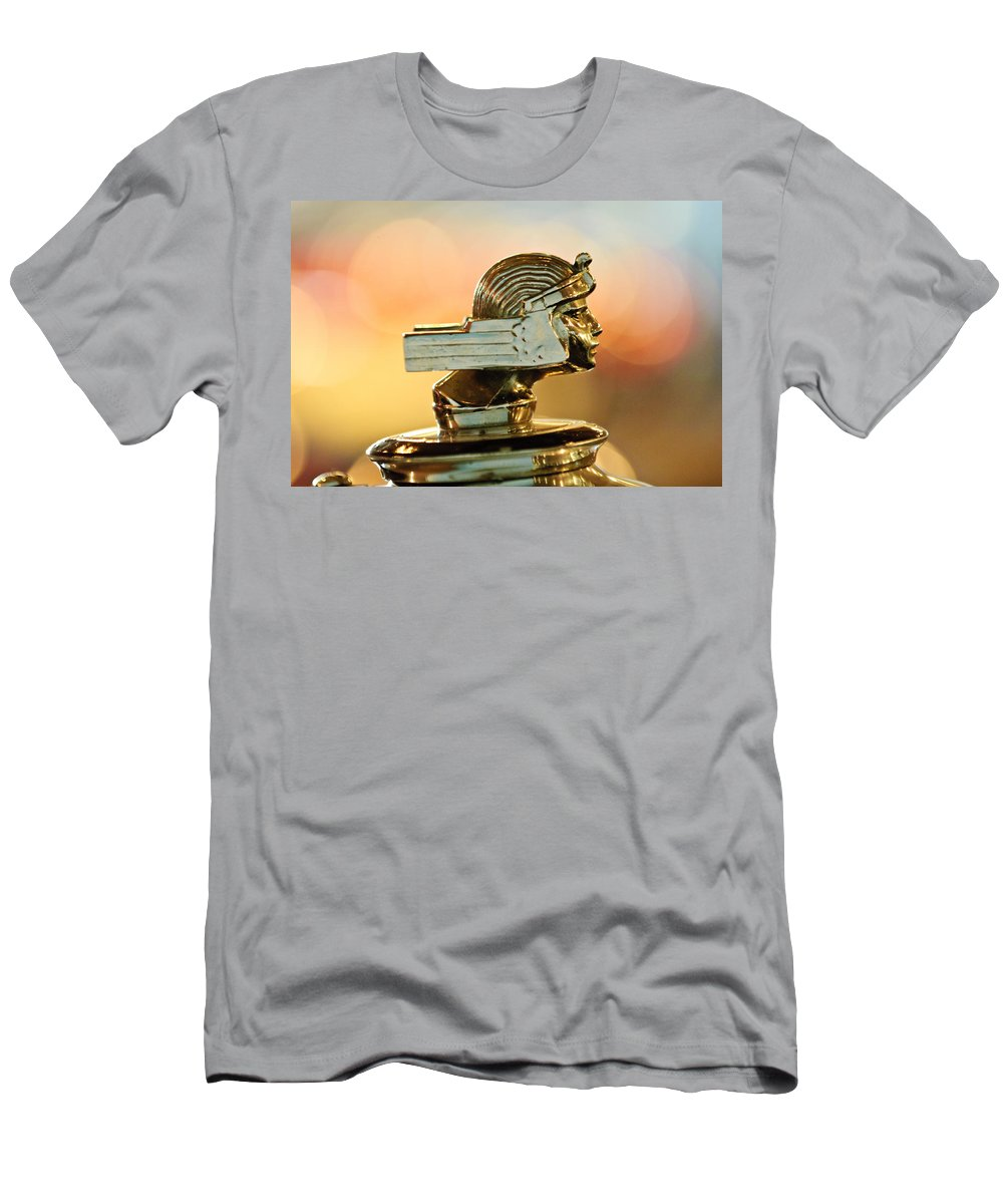 1929 Stutz Series M Four-passenger Dual-cowl Speedster Men's T-Shirt (Athletic Fit) featuring the photograph 1929 Stutz Series M Four-passenger Dual-cowl Speedster Hood Ornament by Jill Reger