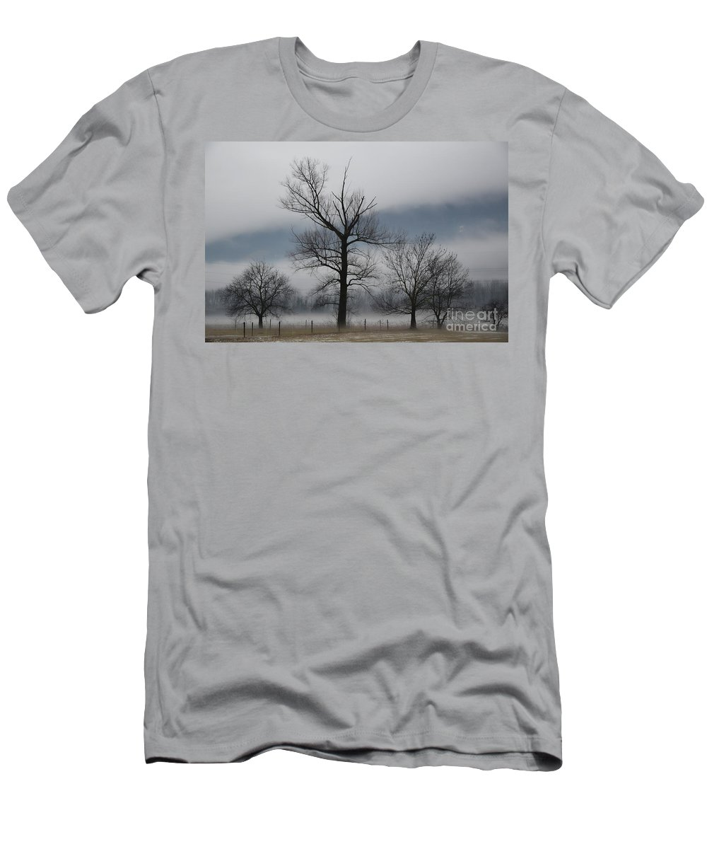 Trees Men's T-Shirt (Athletic Fit) featuring the photograph Trees With Fog by Mats Silvan