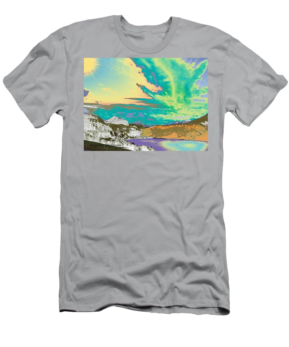 Augusta Stylianou Men's T-Shirt (Athletic Fit) featuring the digital art Space Landscape by Augusta Stylianou