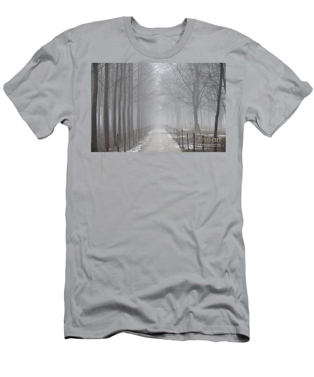 Road Men's T-Shirt (Athletic Fit) featuring the photograph Foggy Road by Mats Silvan