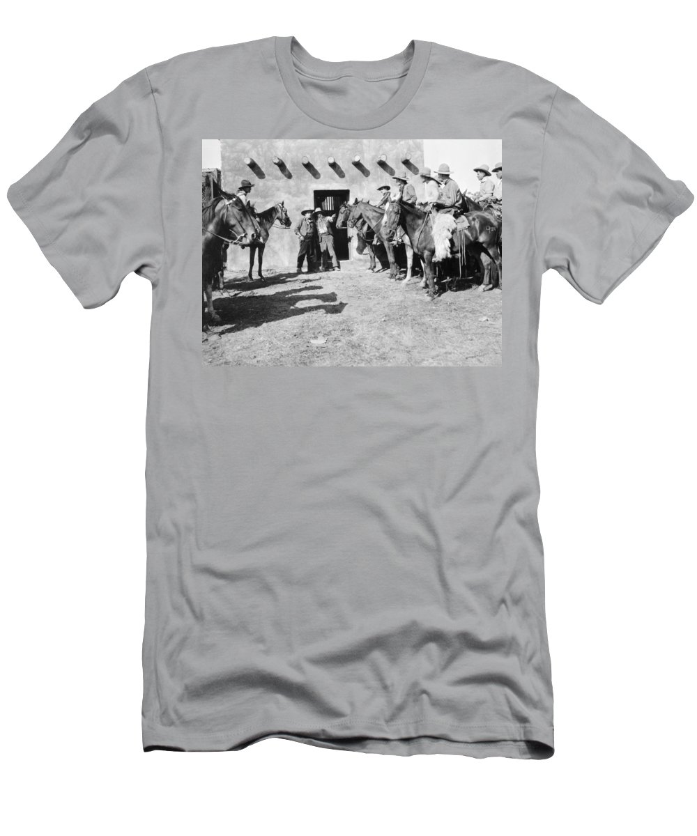 -western- Men's T-Shirt (Athletic Fit) featuring the photograph Silent Film Still: Western by Granger
