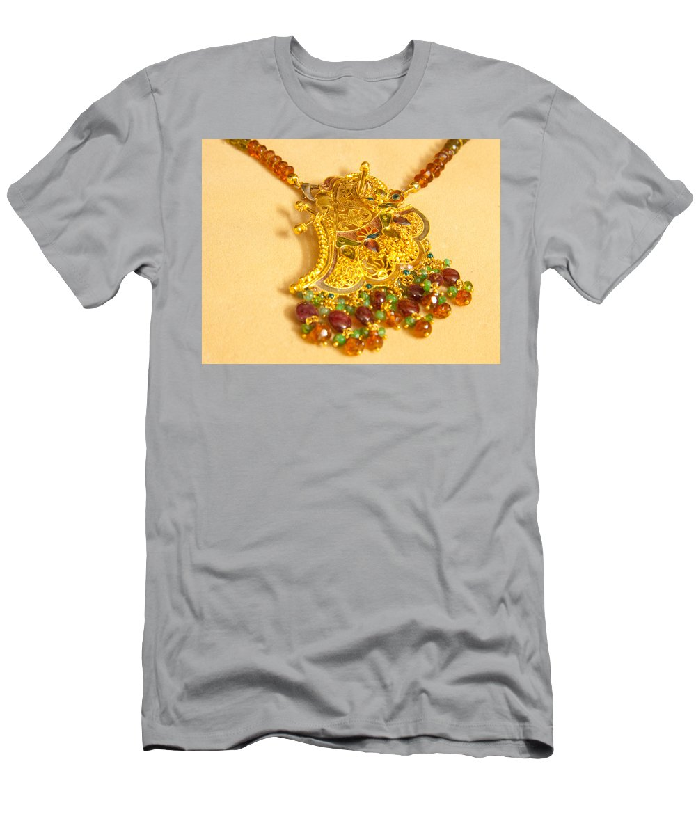 Jewel Men's T-Shirt (Athletic Fit) featuring the photograph A Beautiful Intricately Carved Gold Pendant Hanging From A Semi-precious Stone Chain by Ashish Agarwal