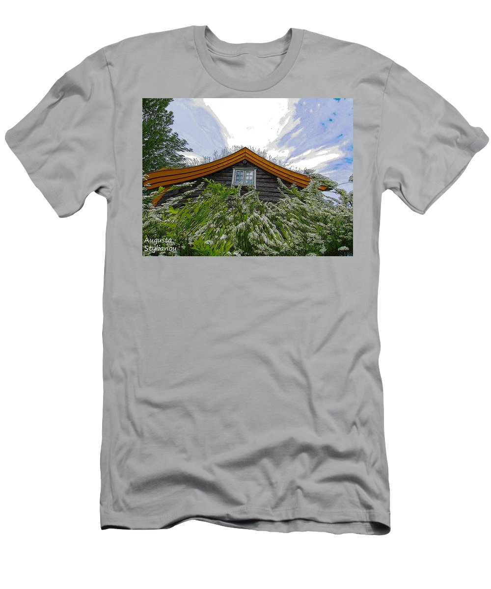 Augusta Stylianou Men's T-Shirt (Athletic Fit) featuring the digital art A Flowery House In Norway by Augusta Stylianou