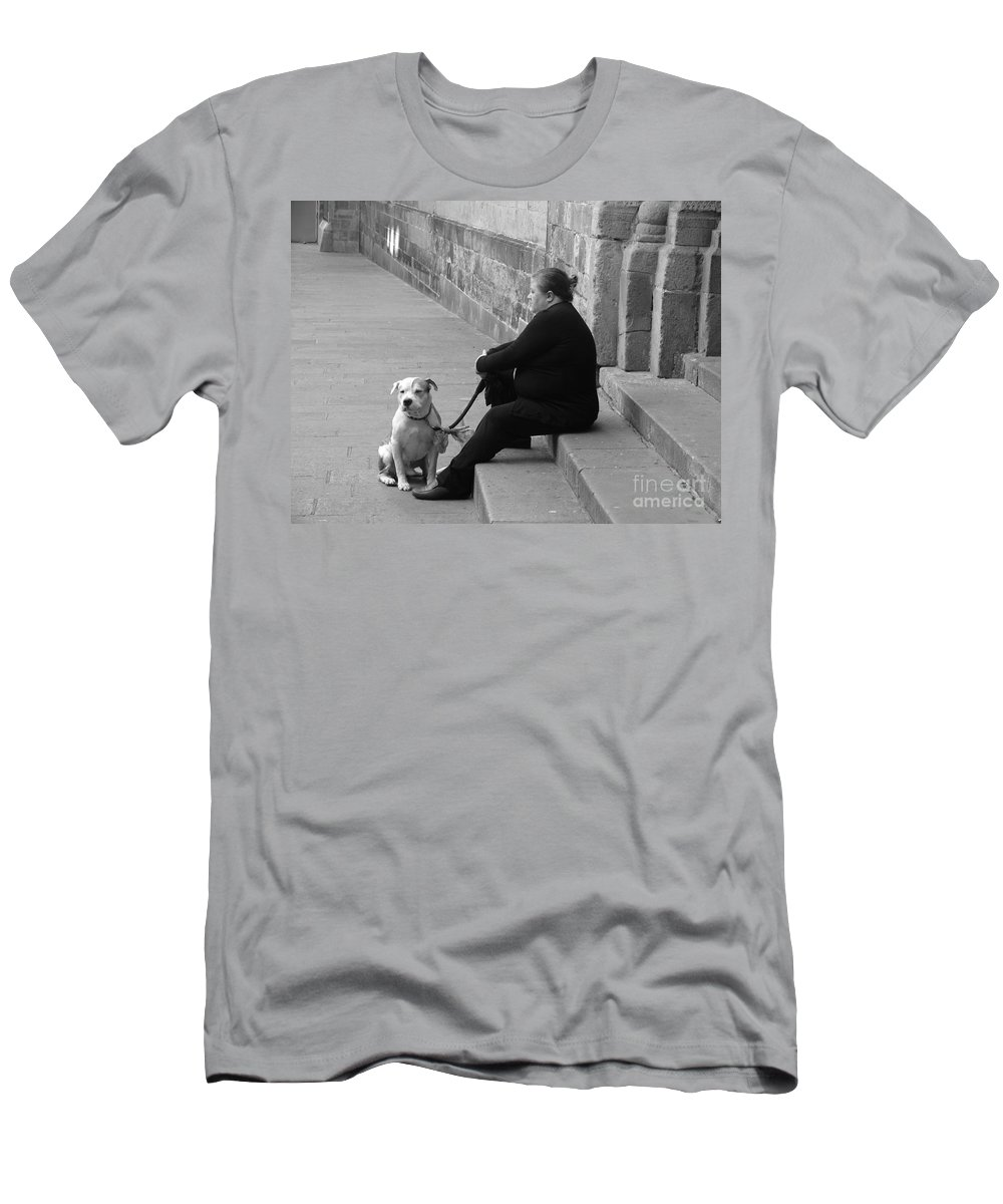 Barcelona Men's T-Shirt (Athletic Fit) featuring the photograph A Lady With Her Dog In Barcelona by Ana Maria Edulescu