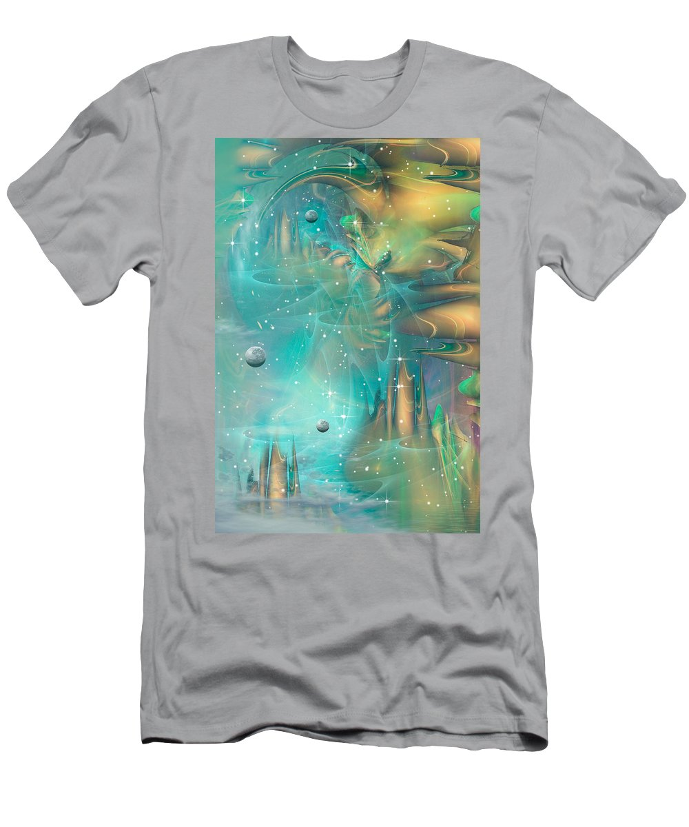 Phil Sadler Mellow Fractal Sci-fi Fantasy Men's T-Shirt (Athletic Fit) featuring the digital art A Mellow Second... by Phil Sadler