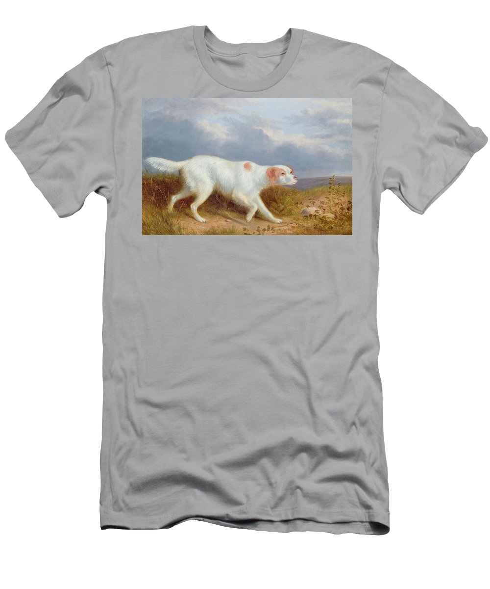 A Setter On The Moor Men's T-Shirt (Athletic Fit) featuring the painting A Setter On The Moor by Philip Reinagle