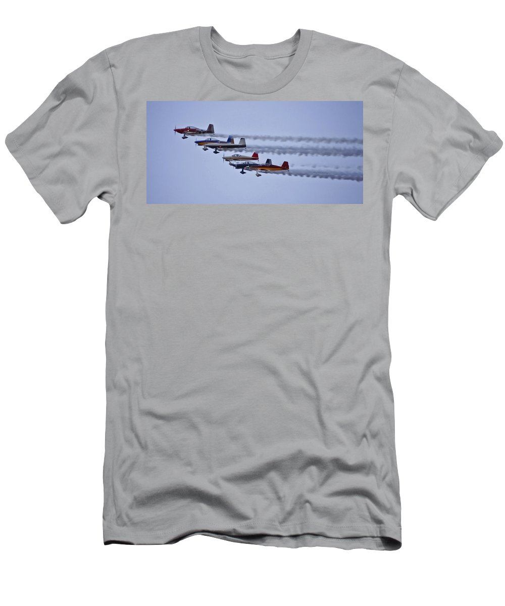 Planes Men's T-Shirt (Athletic Fit) featuring the photograph Air Show Flyover by DigiArt Diaries by Vicky B Fuller