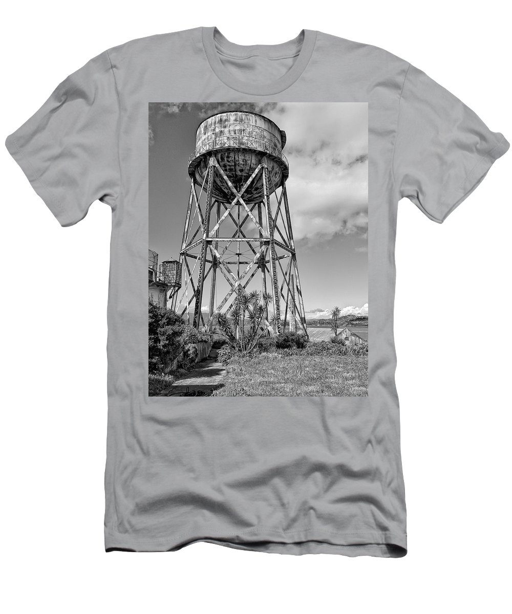 Alcatraz Men's T-Shirt (Athletic Fit) featuring the photograph Alcatraz Penitentiary Water Tower by Daniel Hagerman
