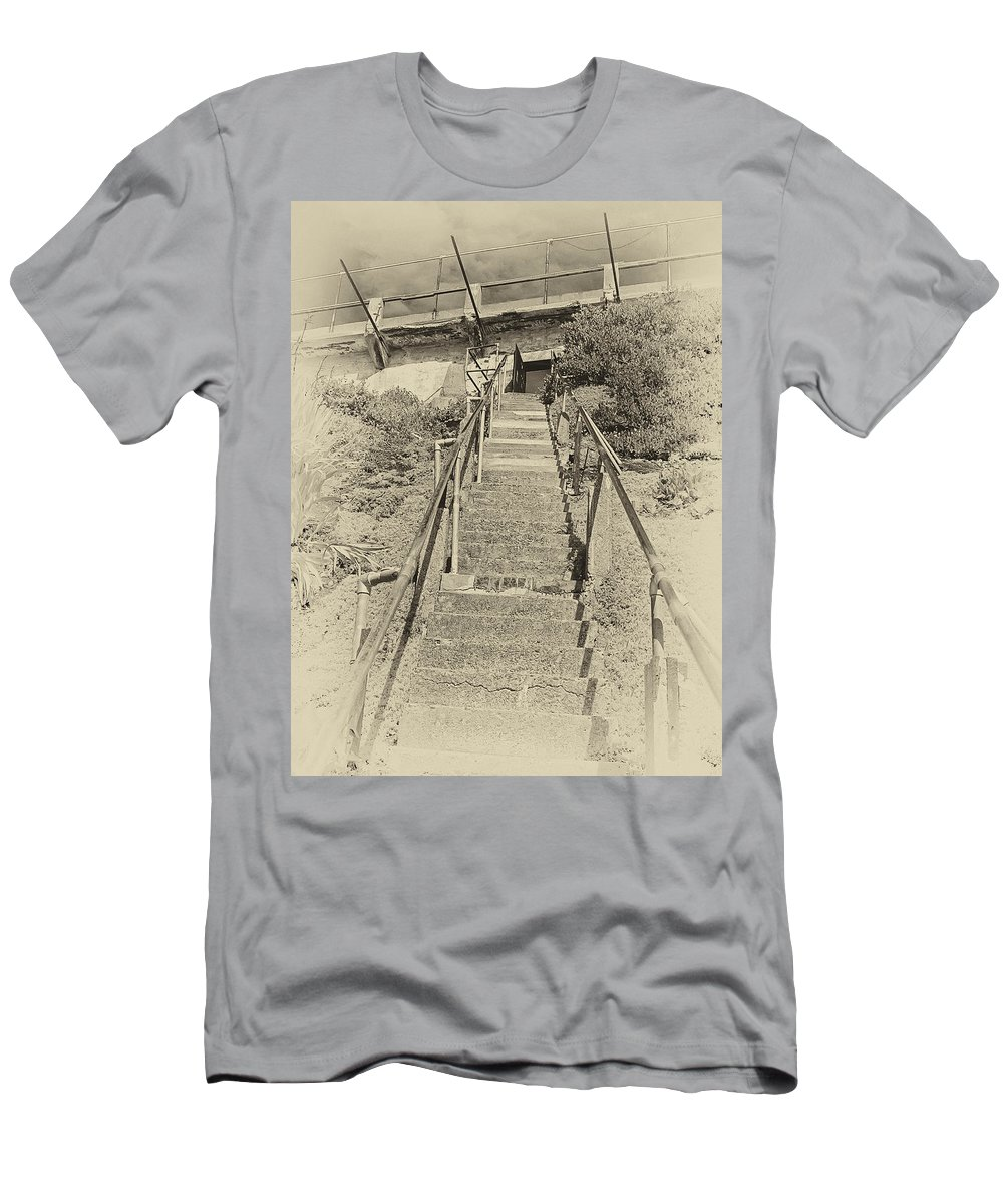 Alcatraz Men's T-Shirt (Athletic Fit) featuring the photograph Alcatraz Two-way Work Staircase by Daniel Hagerman