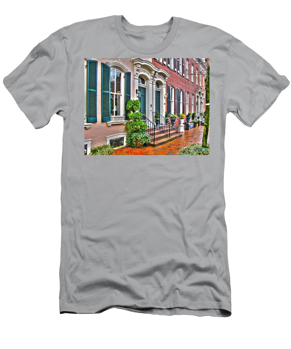 Alexandria Virginia Men's T-Shirt (Athletic Fit) featuring the photograph Alexandria Row Houses by Jack Schultz