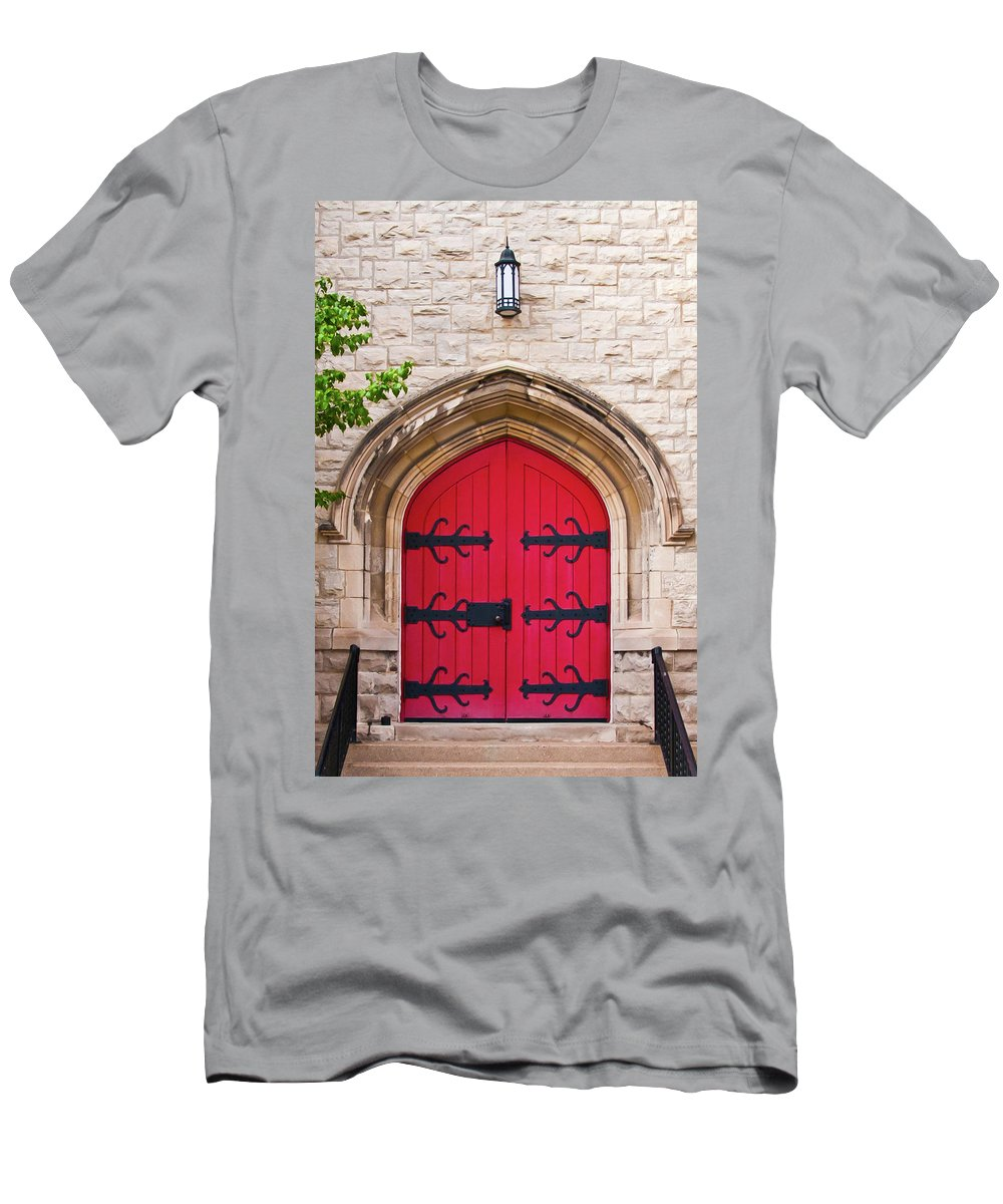 Buildings Men's T-Shirt (Athletic Fit) featuring the photograph All Saints Door 8333c by Guy Whiteley