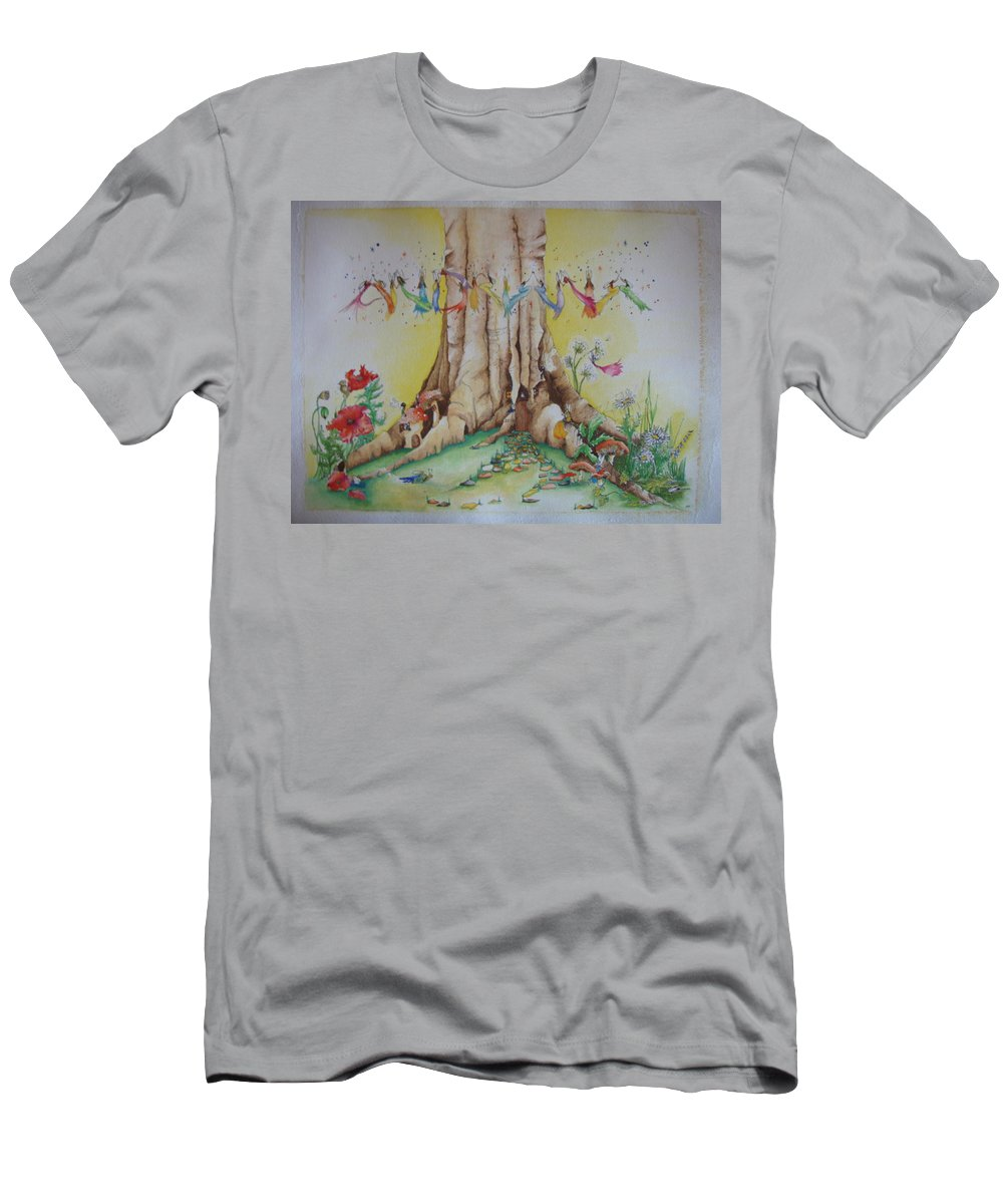 Watercolour Men's T-Shirt (Athletic Fit) featuring the painting Andriana Fairy Illustration by Catt Kyriacou