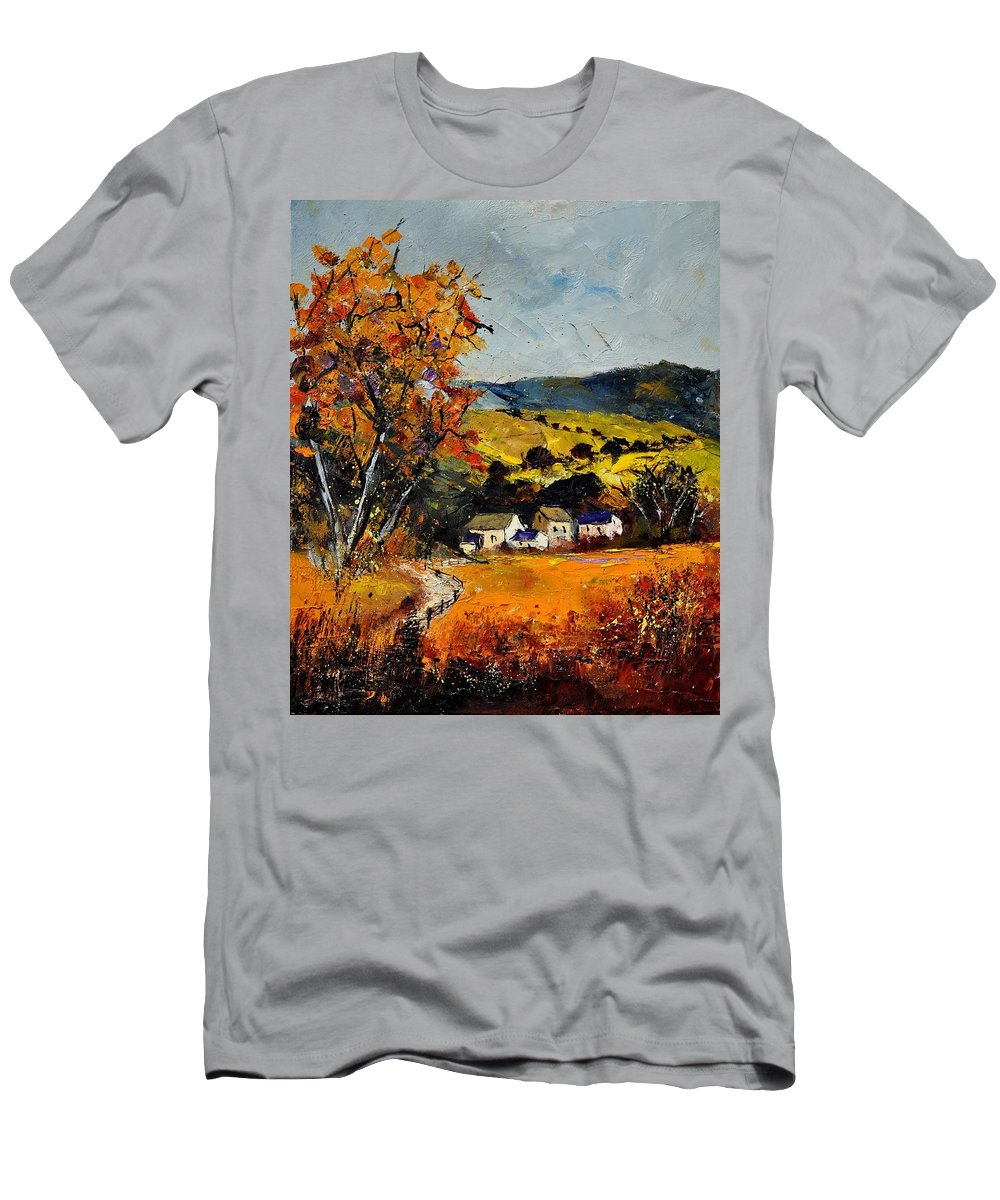 Landscape T-Shirt featuring the painting Autumn and village by Pol Ledent
