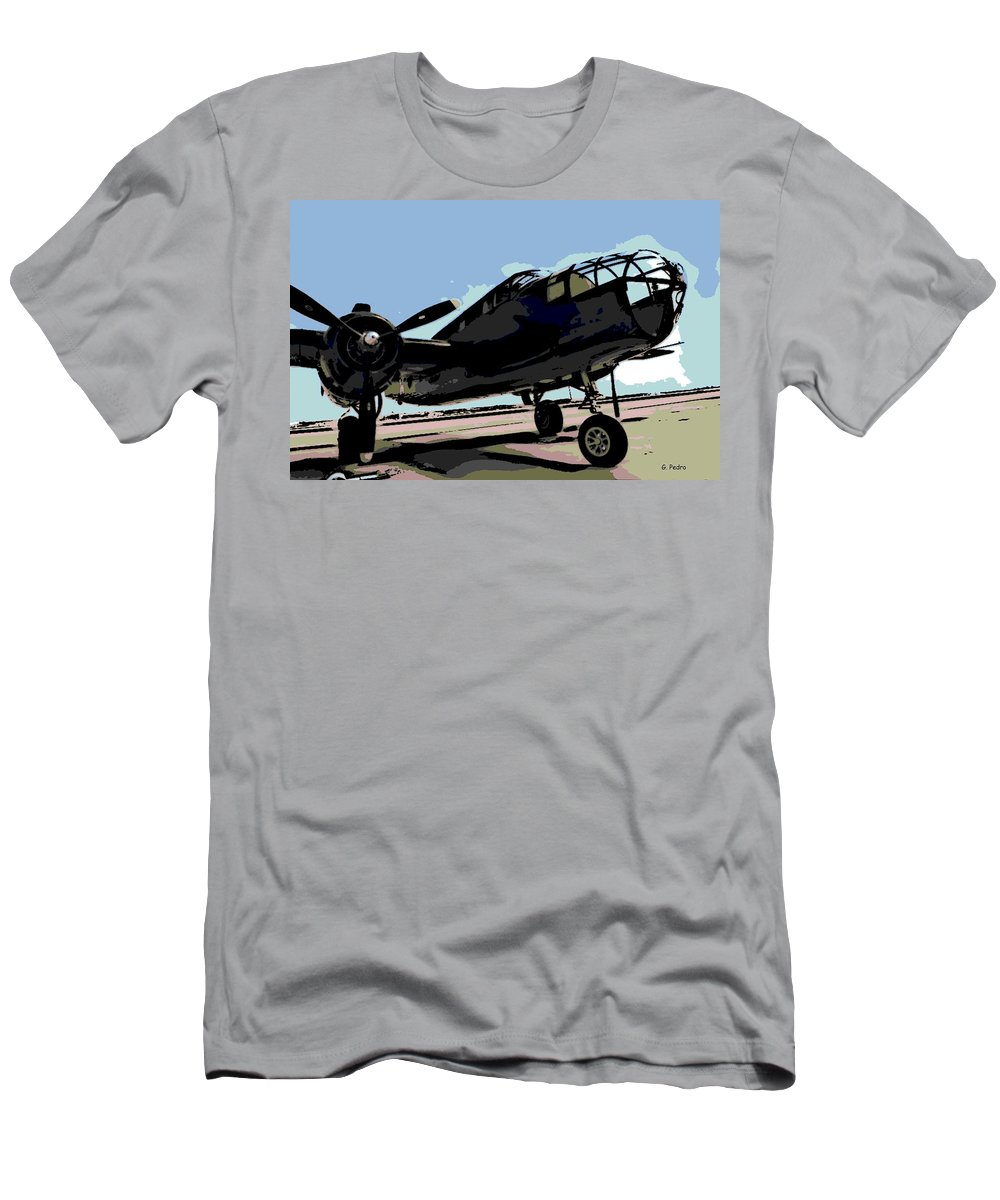 B-25 Bomber Men's T-Shirt (Athletic Fit) featuring the photograph B-25 Bomber by George Pedro
