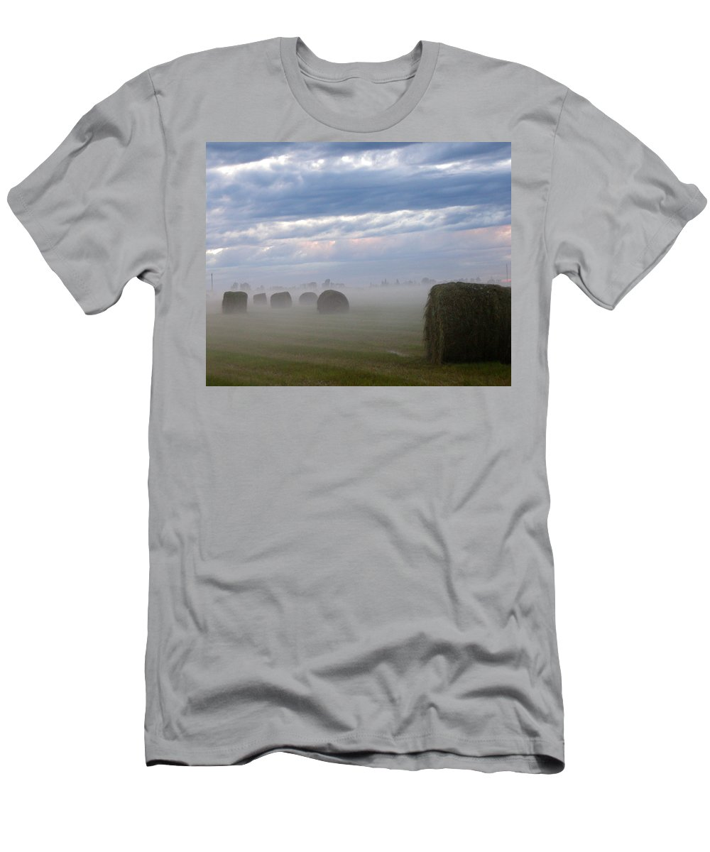 Farm Men's T-Shirt (Athletic Fit) featuring the photograph Bails In Fog by Leanne Karlstrom